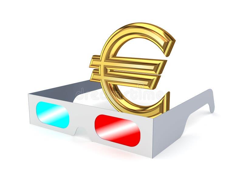 vidros 3d e sinal do euro. ilustração royalty free
