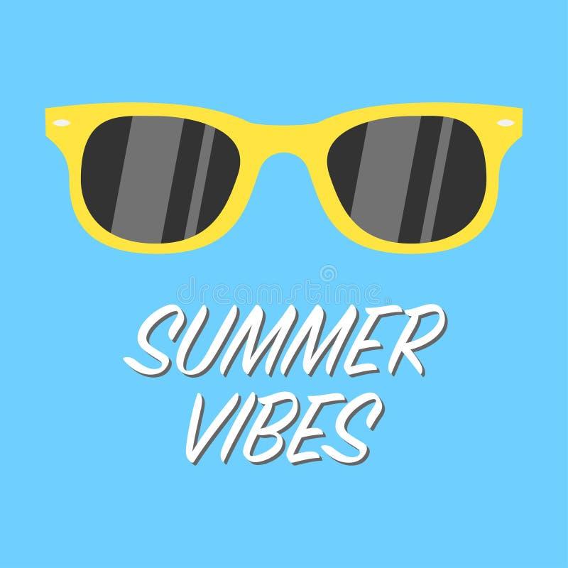 Vidros amarelos das vibrações do verão no fundo azul ilustração do vetor