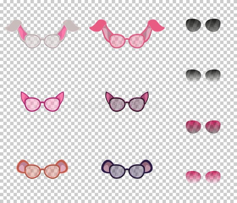 Vidros bonitos com as orelhas dos animais, grupo Lentes transparentes, e lentes adicionais com transparência variável fotografia de stock royalty free