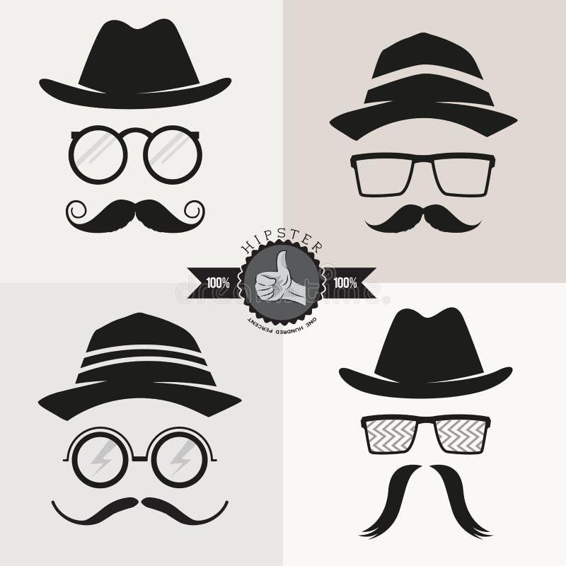Vidros, chapéus & bigodes do moderno ilustração royalty free