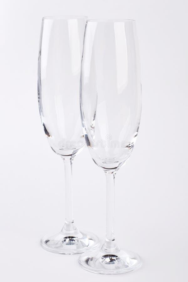 Vidros claros do champanhe do close up dois fotos de stock