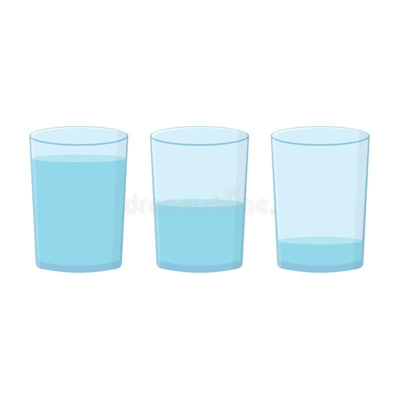 Vidros com água ajustada no fundo branco ilustração stock