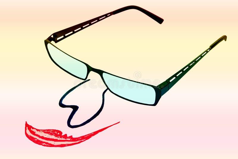 Vidros com nariz e boca no backgro iridescente foto de stock royalty free