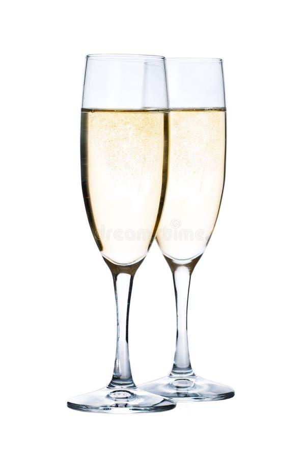 Vidros com o Champagne isolado fotografia de stock royalty free