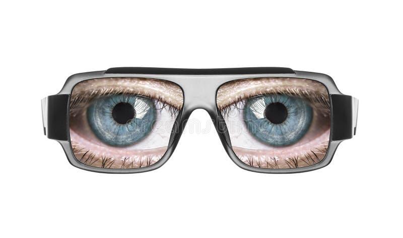 Vidros com os olhos imagens de stock royalty free