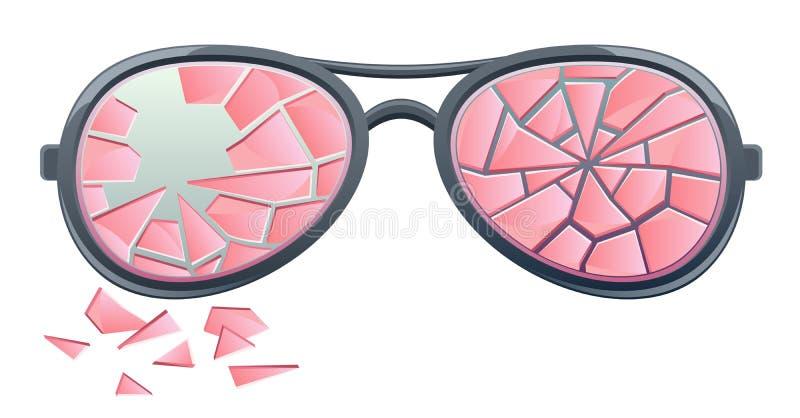 Vidros cor-de-rosa quebrados ilustração do vetor