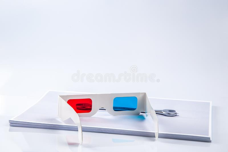 vidros 3D na cópia da ferramenta do vanádio do cromo fotografia de stock