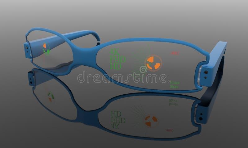 Vidros da câmara de vídeo, funcionamento 3d ilustração do vetor