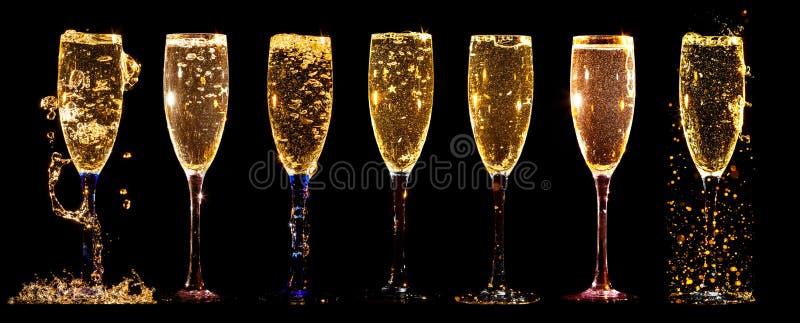 Vidros da colagem do champanhe imagem de stock royalty free