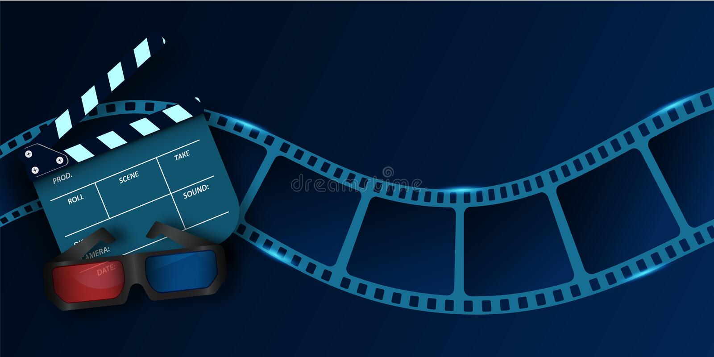 Vidros da onda, do cinema 3d e de válvula a placa da tira do filme do cinema inseto ou cartaz do filme 3d isolado no fundo azul ilustração do vetor