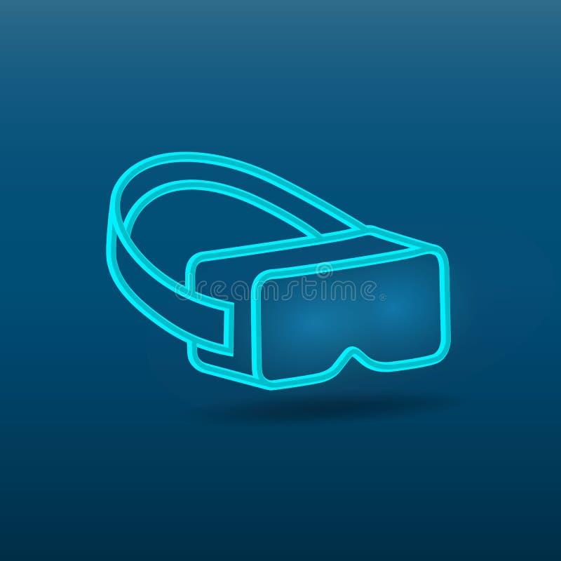 Vidros da realidade virtual, ícone dos auriculares Máscara virtual no fundo azul Ilustra??o Eps 10 do vetor ilustração royalty free