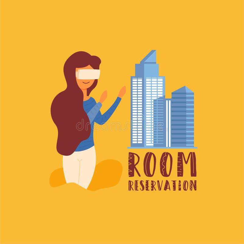 Vidros da reserva de sala da realidade adicional ilustração stock