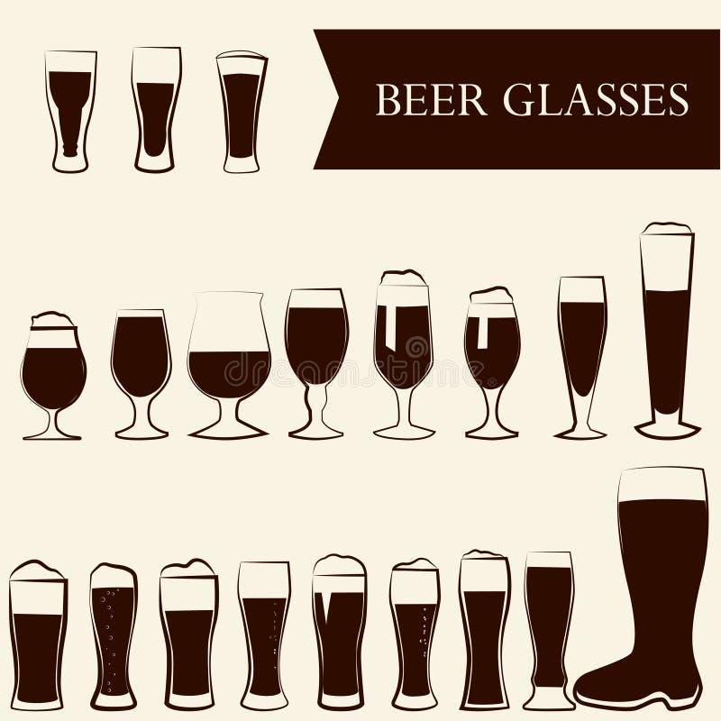 Vidros de cerveja ilustração stock
