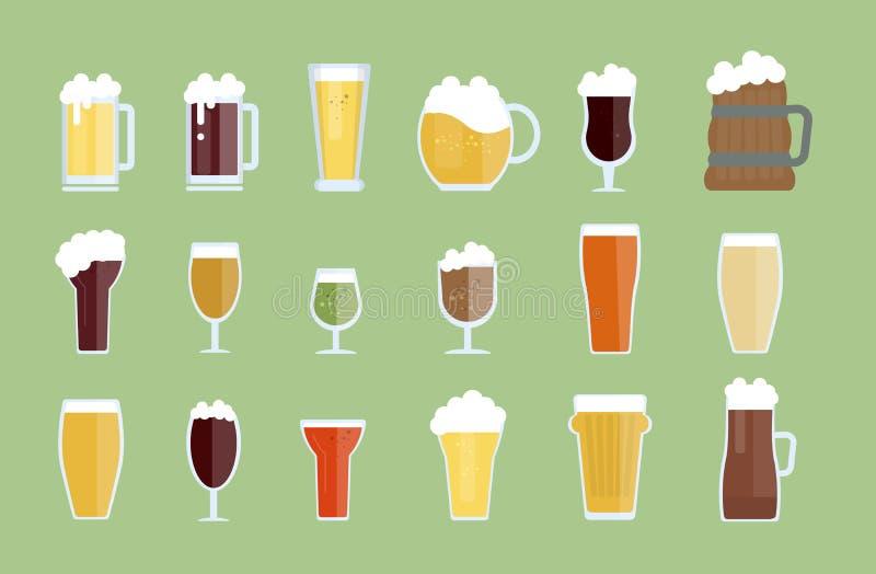 Vidros de cerveja ajustados ilustração royalty free
