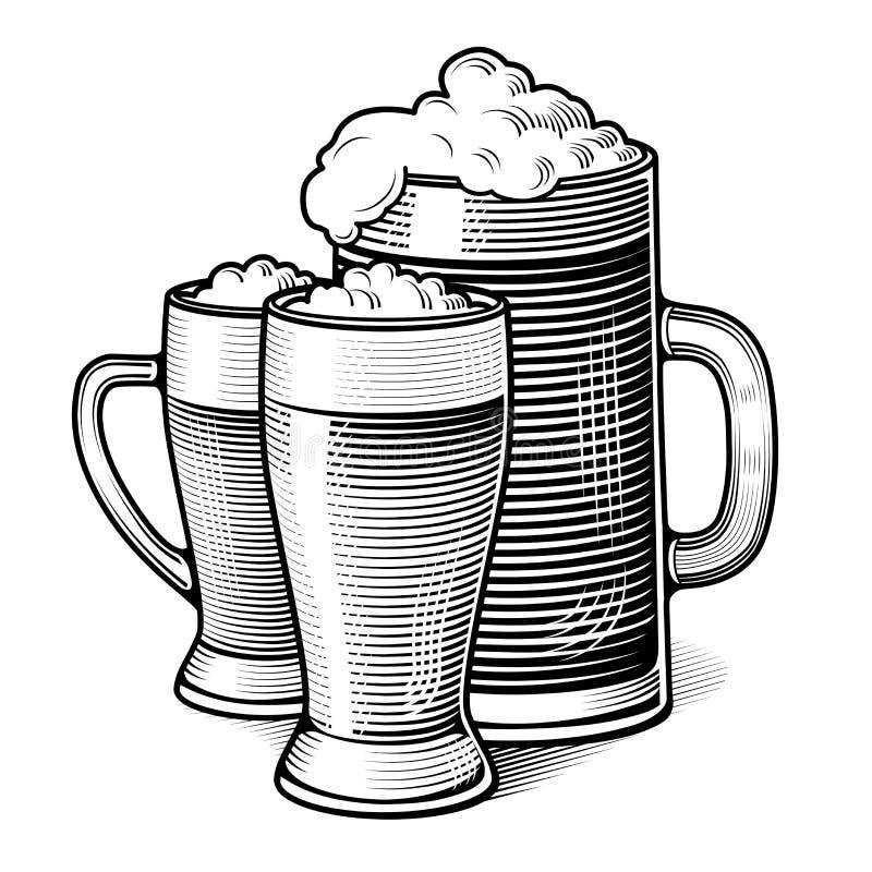 Vidros de cerveja gravados ilustração do vetor