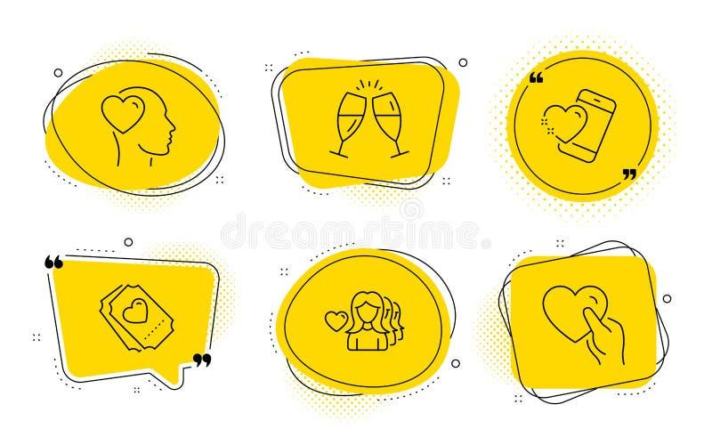 Vidros de Champagne, bilhete do amor e de ícones do amigo grupo Amor da mulher, de coração do coração e da posse sinais Vetor ilustração royalty free