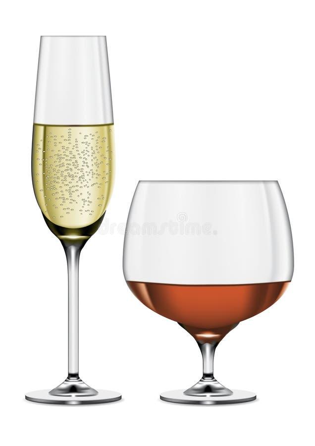 Vidros de Champagne e de conhaque ilustração royalty free