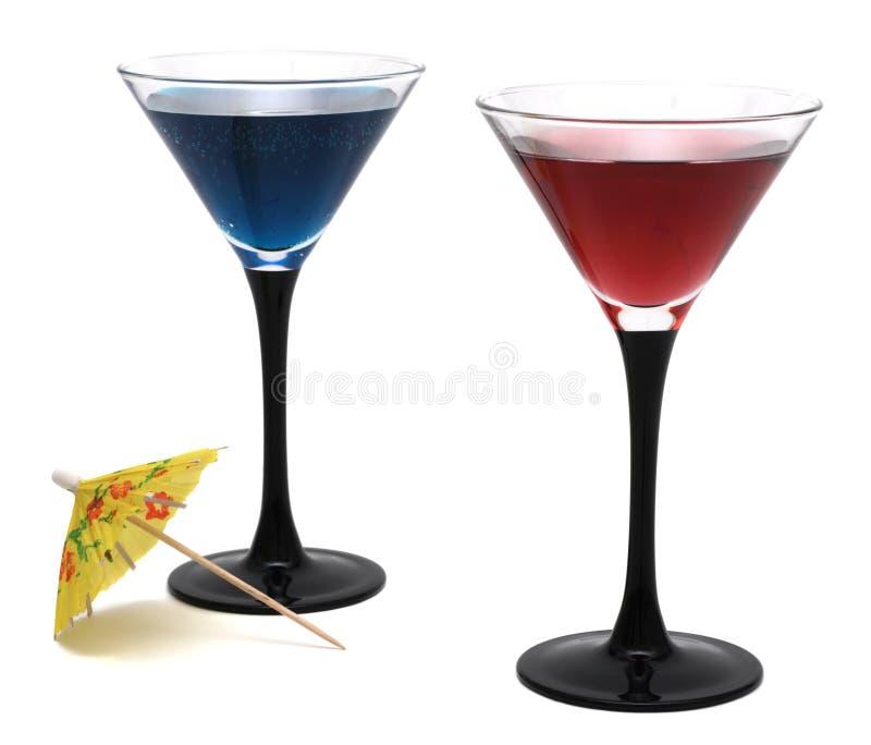 Vidros de cocktail isolados no fundo branco imagens de stock royalty free