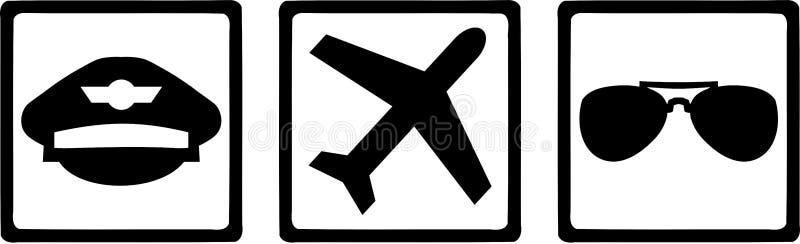 Vidros de Icons Hat Airplane do piloto ilustração royalty free