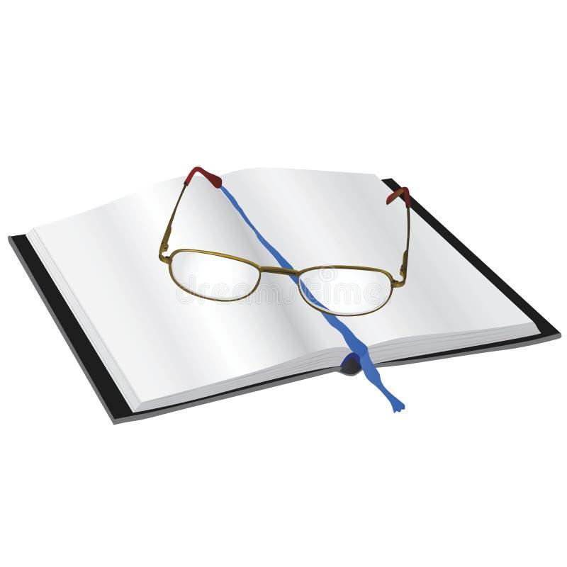 vidros de leitura em um livro ilustração stock