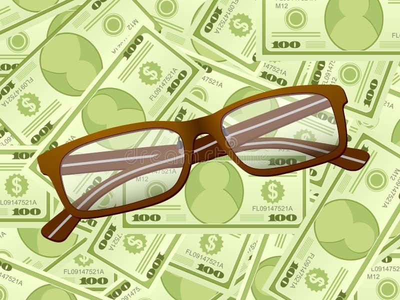 Vidros de leitura no fundo do dólar ilustração stock