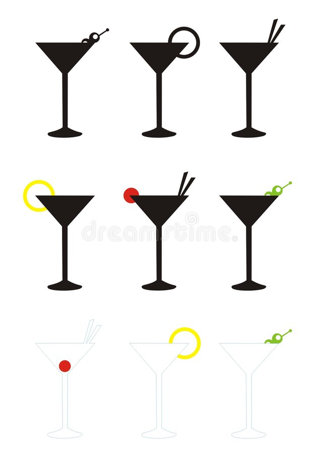 Vidros de Martini fotos de stock royalty free