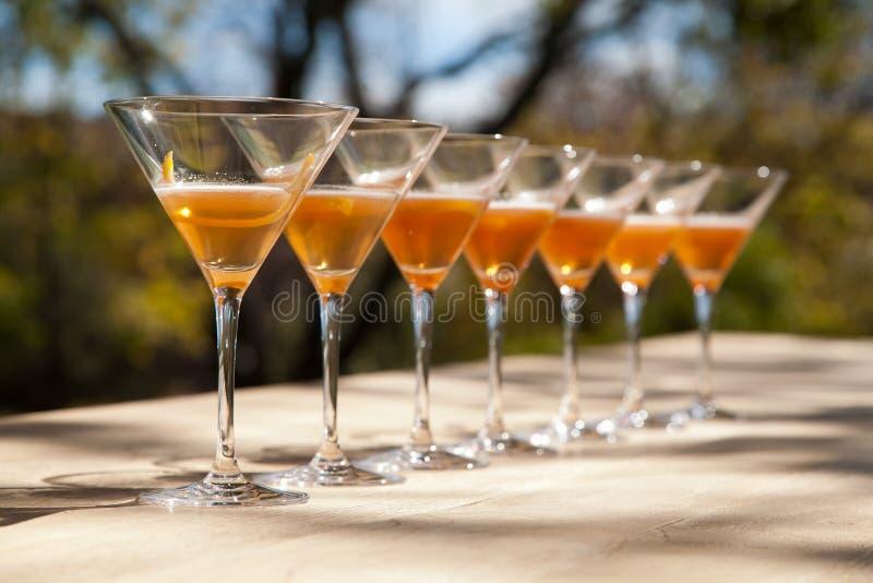 Vidros de Martini na luz solar imagem de stock