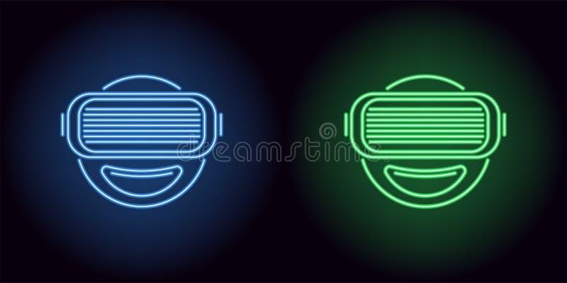 Vidros de néon de VR na cor azul e verde ilustração royalty free