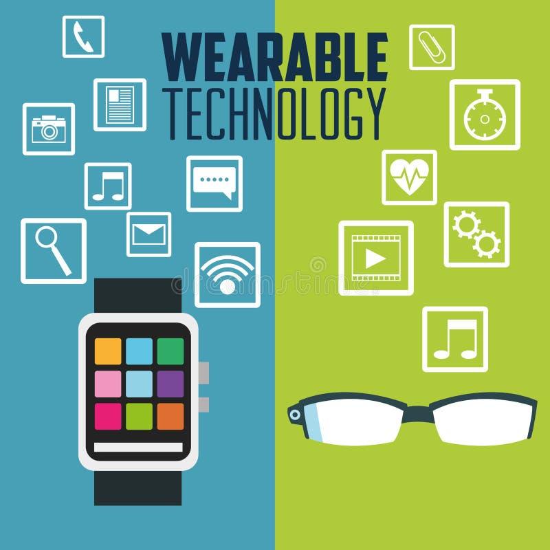 Vidros de relógio espertos e tecnologia wearable ilustração stock