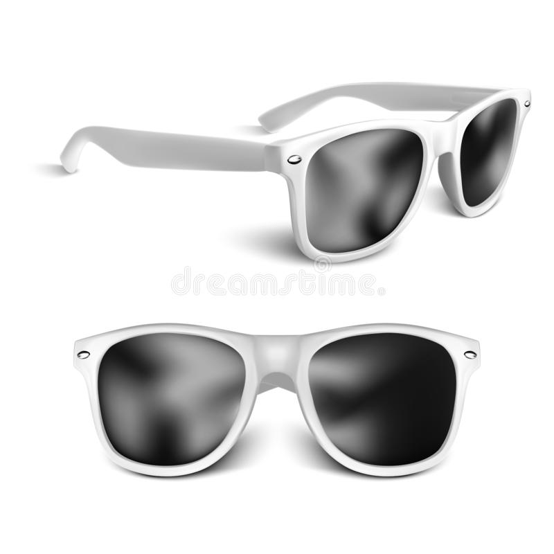 Vidros de sol brancos realísticos isolados no fundo branco Ilustra??o do vetor ilustração royalty free