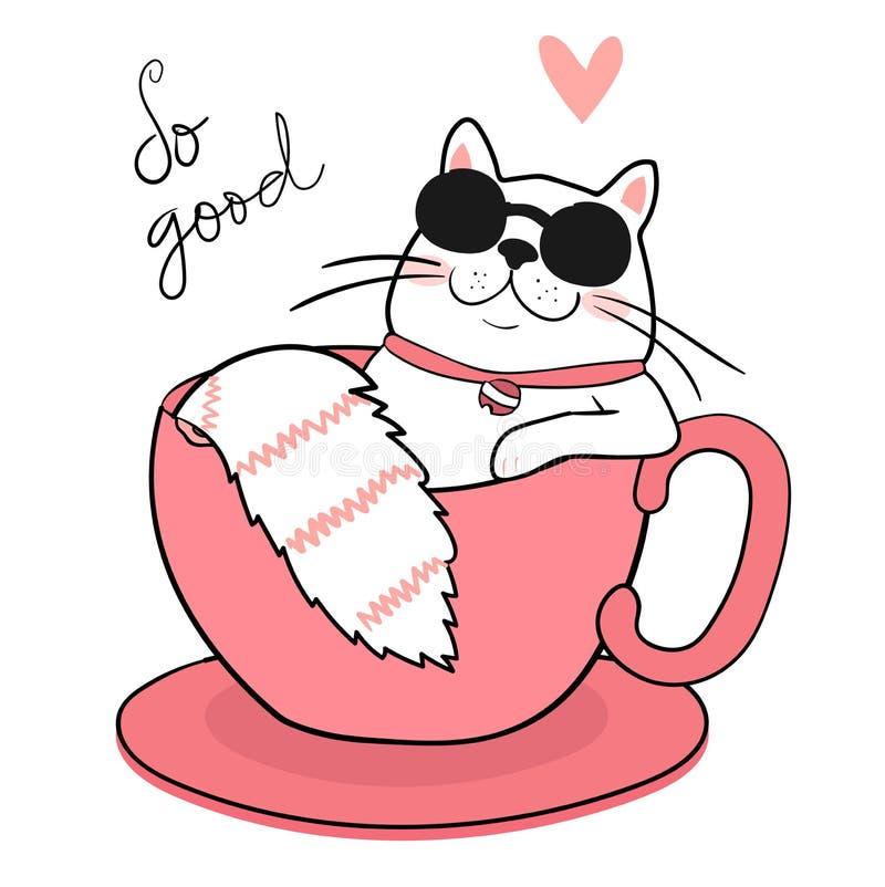 vidros de sol gordos brancos bonitos do desgaste do gato que dormem em um copo de café, tração ilustração stock