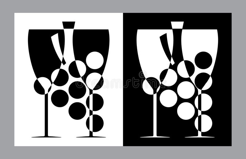 Vidros de vinho e sinal do botlle (vetor, CMYK) ilustração stock