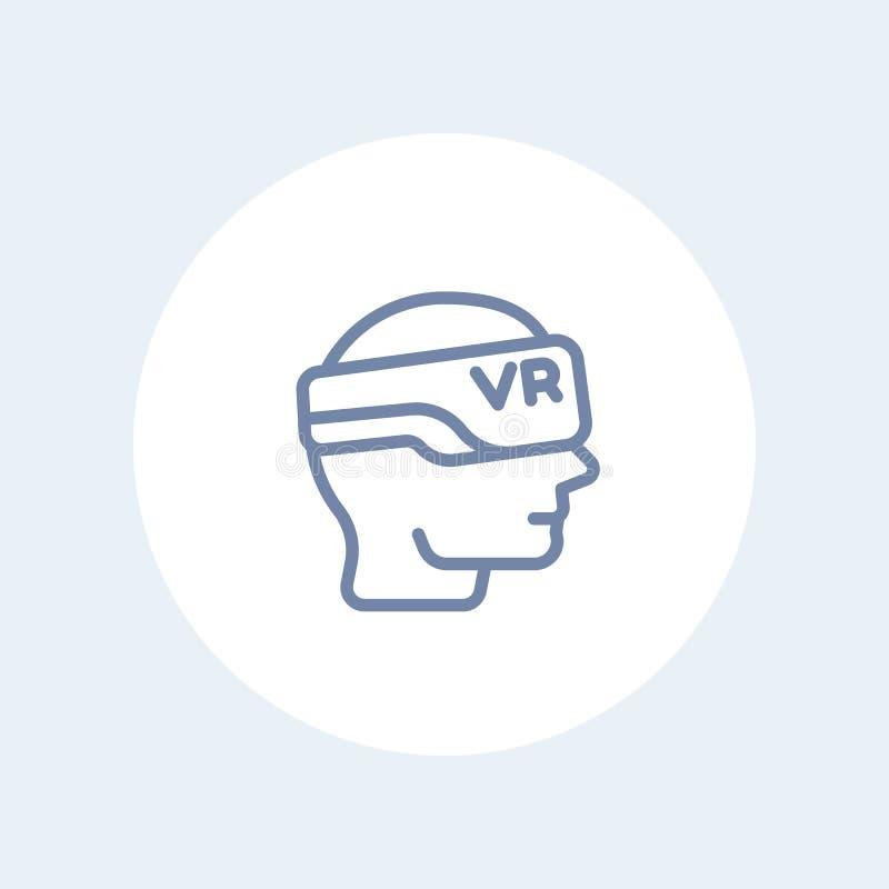 Vidros de VR, ícone dos auriculares da realidade virtual no branco ilustração stock