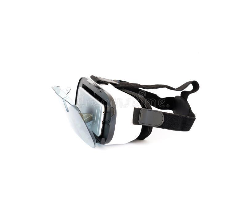 Vidros de VR ou auriculares da realidade virtual isolados no branco imagens de stock royalty free