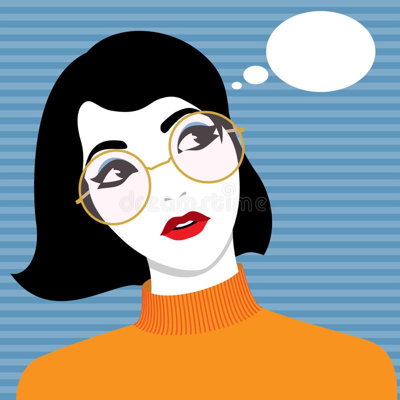 Vidros desgastando bonitos da mulher nova ilustração stock
