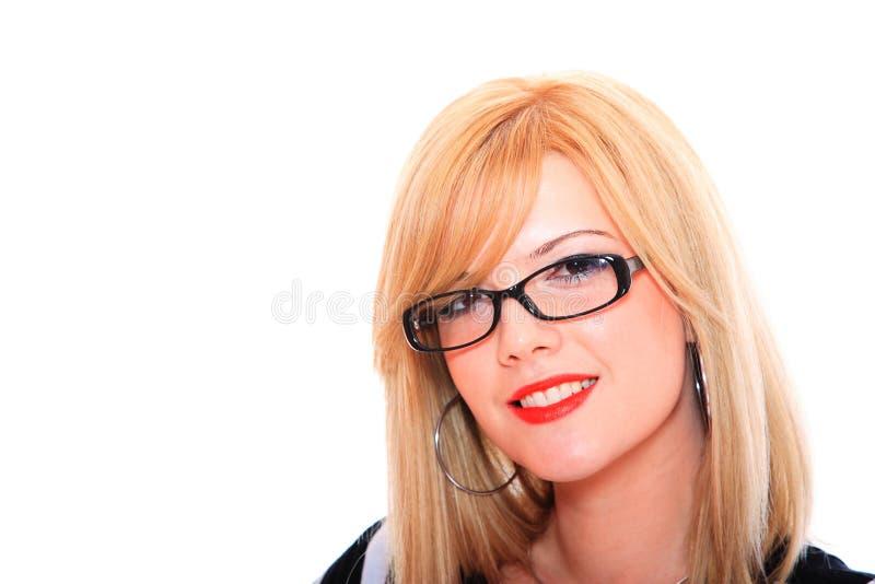 Vidros desgastando da mulher de negócio foto de stock royalty free