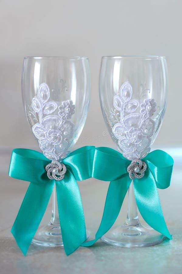 Vidros do champanhe do casamento fotografia de stock
