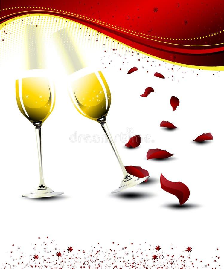 Vidros do champanhe do Valentim com pétalas cor-de-rosa ilustração royalty free