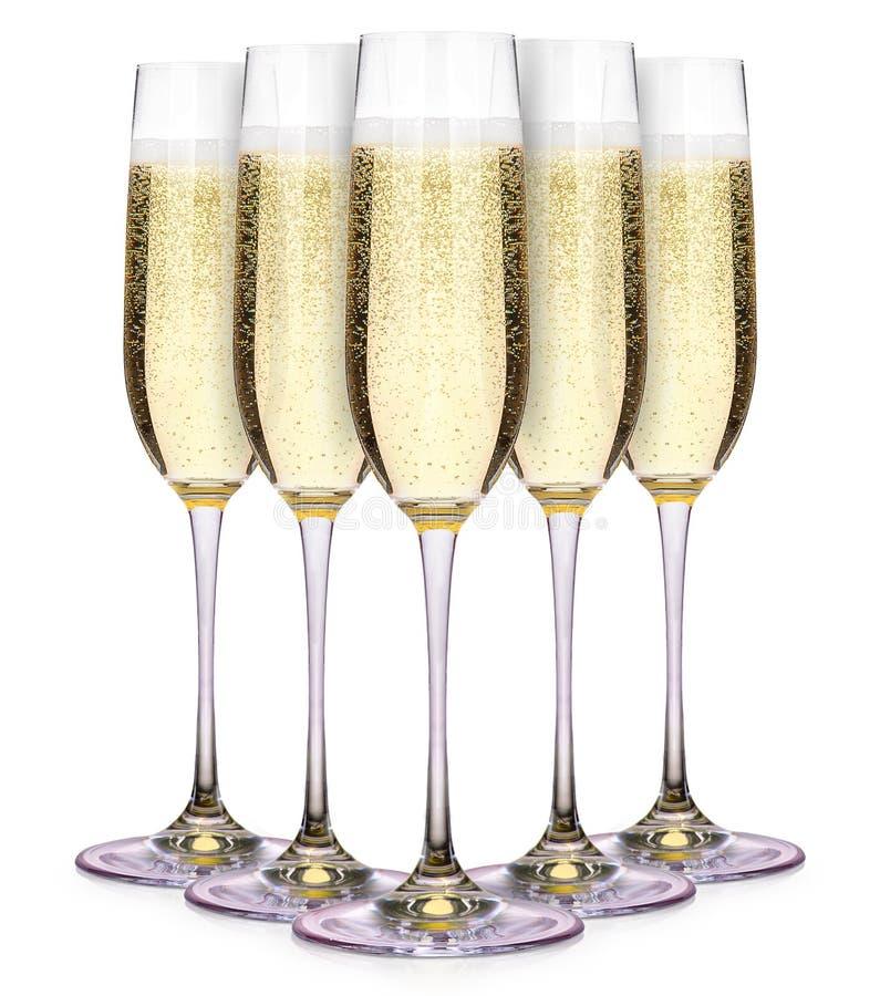 Vidros do champanhe isolados em um branco imagem de stock