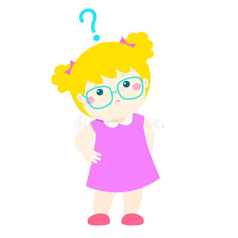 Vidros do desgaste do cabelo louro da menina que querem saber o personagem de banda desenhada ilustração royalty free