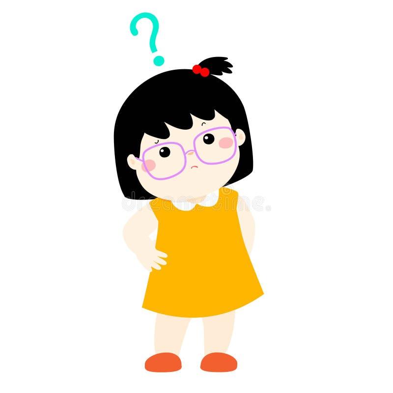 Vidros do desgaste do cabelo preto da menina que querem saber o personagem de banda desenhada ilustração royalty free
