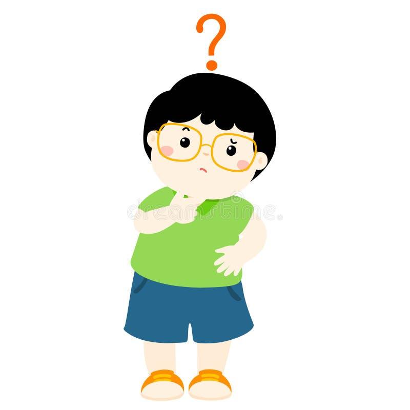 Vidros do desgaste do cabelo preto do rapaz pequeno que querem saber o personagem de banda desenhada ilustração royalty free