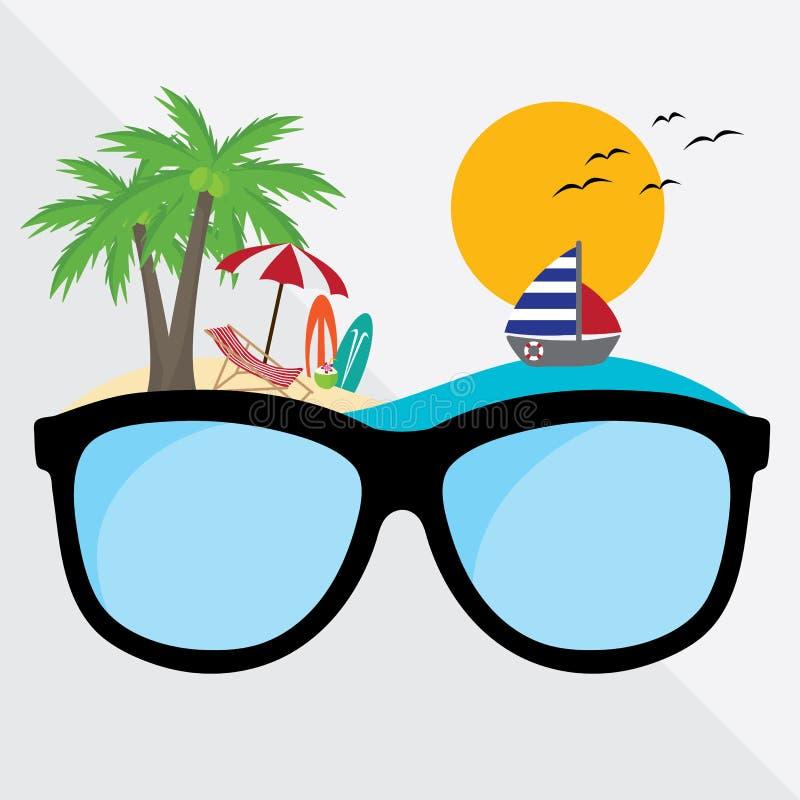 Vidros do gráfico de vetor com a praia do verão do curso e da viagem do conceito tempo de férias criativo do projeto ilustração stock