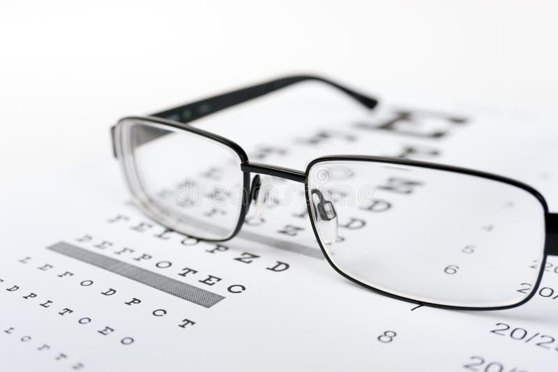Vidros do olho no fundo da carta de teste da visão fotografia de stock