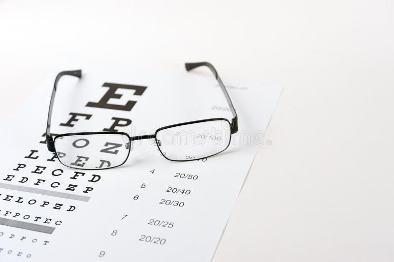 Vidros do olho no fundo da carta de teste da visão fotos de stock royalty free