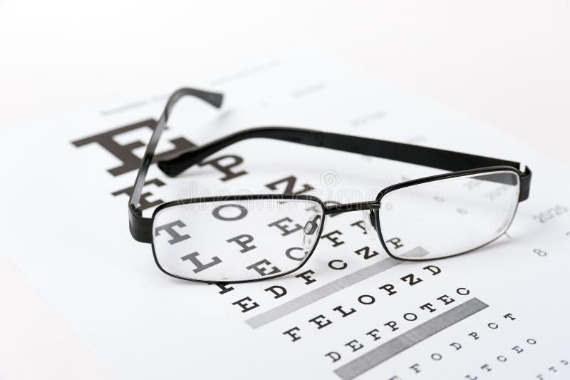 Vidros do olho no fundo da carta de teste da visão imagem de stock royalty free