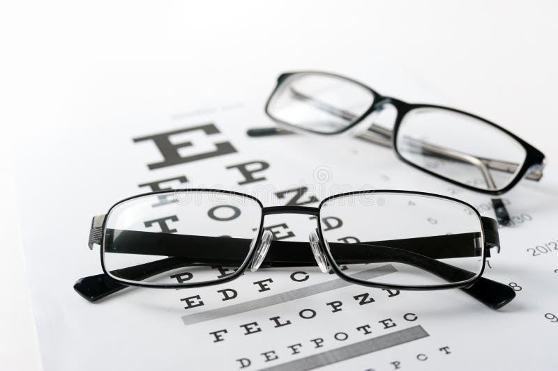 Vidros do olho no fundo da carta de teste da visão imagens de stock royalty free