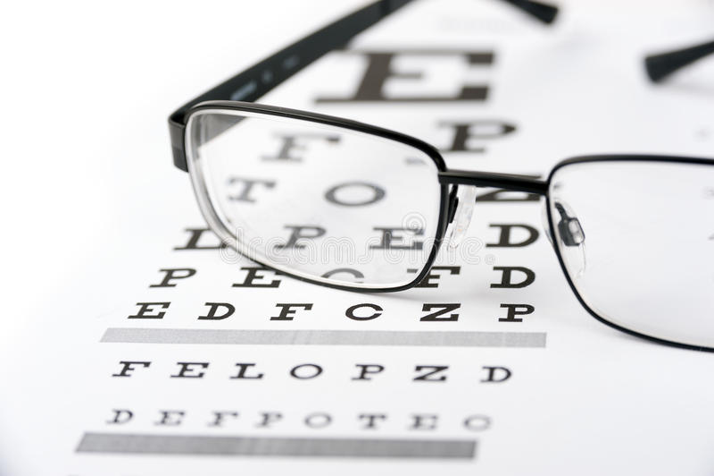 Vidros do olho no fundo da carta de teste da visão fotos de stock