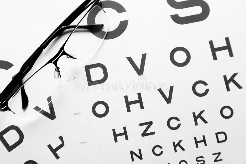 Vidros do olho no fundo ortometric da tabela da carta de teste da visão Fundo médico do oftalmologista fotos de stock