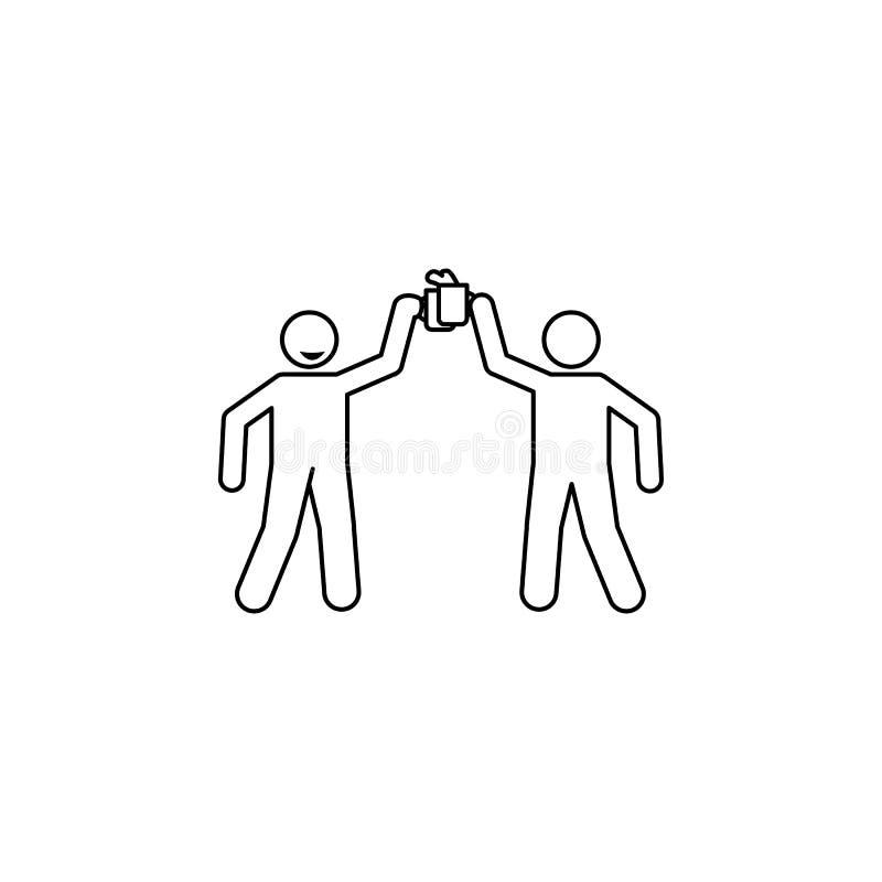 vidros do tim-tim do ícone da cerveja Elemento dos povos que comemoram para apps móveis do conceito e da Web Linha fina ícone par ilustração stock